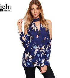 8406c13c927 SheIn Womens Tops and Blouses For Autumn Elegant Blue Flower Print Choker V  Neck Cold Shoulder