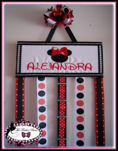 Embroidered Minnie mouse Headband and Hair bow holder