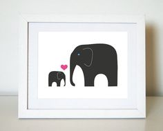 VALENTINE'S DAY Elephant Love Children's Room Decor by jenimdesign
