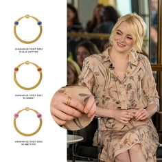 Hollywood actress, Emma Stone wore the Shanhan Bit Knot Rings stacked in Blue Sapphire, Garnet, and Amethyst to the Billie Jean King Leadership Initiative luncheon.