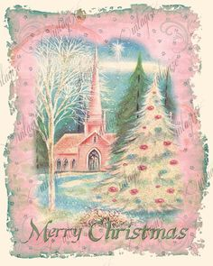 Printable Shabby Chic Christmas Vintage Church PINK Art Print for Framing, Scrapbooking - Christmas Cards Vintage Christmas Images, Old Fashioned Christmas, Christmas Past, Retro Christmas, Vintage Holiday, Christmas Pictures, Christmas Crafts, Christmas Mantles, Victorian Christmas