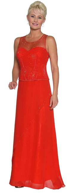 Red Mother of the Bride Dress Groom Sweetheart Neck Beaded Top