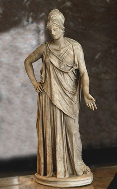 """Athena (so called """"Athena Mattei"""")  Parian marble. Roman(?) copy ca. 100 B.C. after a Greek bronze model of the 4th cent. B.C. attributed to Euphranor. H. 2.3 m. Inv. No. Ma 530 (LL 300). Paris, Louvre Museum."""