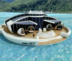 Floating house boat.