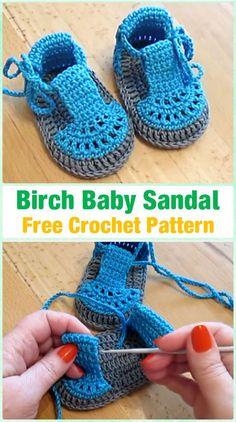 Crochet Baby Booties Crochet Birch Baby Sandals Free Pattern Video -  #Crochet Ba...