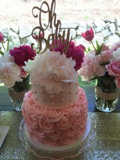 Rose cake at a gold & pink baby shower party! See more party planning ideas at CatchMyParty.com!