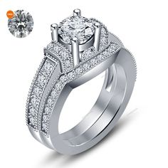 2.30 CT.T.W 14K White Gold 925 Silver Engagement Bridal Ring Set With Free Gift  #aonejewels