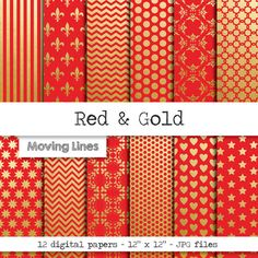 Check out this item in my Etsy shop https://www.etsy.com/listing/243197858/christmas-paper-gold-red-digital-paper