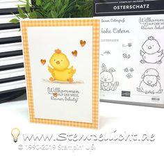 """Conni Richter - 💡Stempellicht on Instagram: """"🅦🅔🅡🅑🅤🅝🅖 Hier ist mein fertiges Kärtchen mit dem süßen Kücken aus dem Stempelset """"Osterschatz""""  #stempellicht #stampinup #card #paper…"""" Tarjetas Stampin Up, Stampin Up Cards, Hand Made Greeting Cards, Making Greeting Cards, Animal Cards, Cards For Friends, Handmade Birthday Cards, Stamping Up, Baby Cards"""