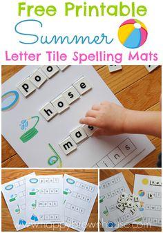Free Printable Summer Letter Tile Spelling Mats