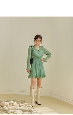 Korean Model, Korean Style, Shirred Dress, Dress Skirt, Casual Ootd, Korean Girl Fashion, Modern Outfits, Daily Look, Knit Cardigan
