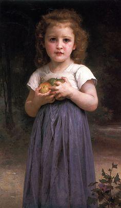 Bouguereau 'Little girl holding apples in her hands' 1895
