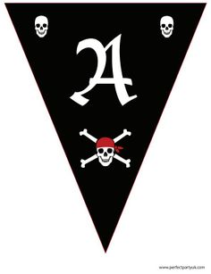 "Printable Pirate bunting in black and red. Reads ""Ahoy There!"" - great for any occasion! Get the full set of letters at http://www.perfectpartyuk.com/theme-guides/pirates/free-printables/ to print out at home (it's free!)"