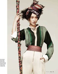 Great styling. Love this outfit, esp blouse/jacket: EDITORIAL: Du Juan in South China Morning Post's Style Magazine, April 2011