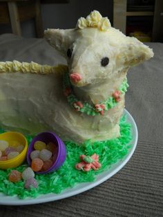 we make this lamb cake EVERY single year for easter...in a lamb cakey mood. but i don't think this is the recipe we use...just the decoration. we make a pound cake in our mold, then a butter cream icing.