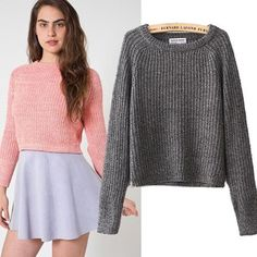 Fashion crop sweater Four colors Size:S,M S: Bust 90 Length 50 M: Bust 94 Length 52 Sweater And Shorts, Cropped Sweater, Fall Outfits, Casual Outfits, Cute Outfits, Thick Sweaters, Lounge Wear, Womens Fashion, Fashion Trends