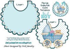 Peek a boo teddy with baby boys pram blue polkadot bib on Craftsuprint - Add To Basket!