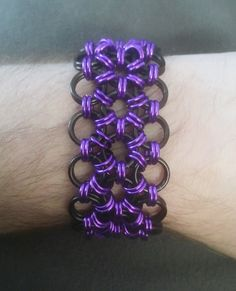 """1.25"""" Wide Black & Purple Japanese Weave Chainmail Bracelet - Mens Womens Unisex - Goth Emo Punk Wristband - Chainmaille Accessory Jewellry by JohnsChainmailShop from John's Chainmail Shop. Find it now at http://ift.tt/2oBYQw0!"""