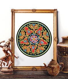 Traditional Italian Majolica Design Watercolor Painting, Antique Italian Wall Art, Italian Renaissance Decor Prints and Original Painting by HermesArts