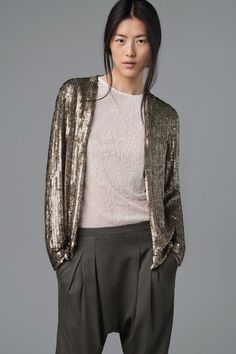 texture zara sequin jacket dropped crotch pants workwear fashion young professional