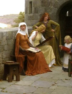 By Edmund Blair Leighton. Green dress looks completely disinterested, but I love her dress, brown dress looks super bored and baby has a scary ass doll