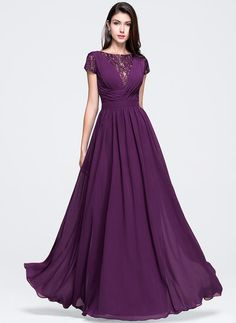 A-Line/Princess Scoop Neck Floor-Length Ruffle Zipper Up Sleeves Short Sleeves No Grape Spring Summer General Plus Chiffon Prom Dress Affordable Prom Dresses, Cheap Prom Dresses, Formal Dresses, Fitted Dresses, Dresses 2016, Indian Gowns Dresses, Evening Dresses, Best Party Dresses, Party Kleidung