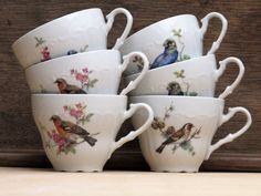 set of 6 french vintage tea cups,little bird and flowers, Fine Luxe Porcelain, (6 available), white fine china
