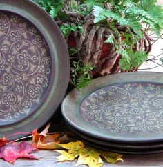 Franciscan Madeira Dinner Plates Set Four Retro Ironstone Brown and Sage Green Earthtone Colors