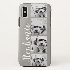 4 Photo Collage and name - CAN edit COLOR iPhone X Case - photography gifts diy custom unique special