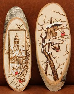 Wood Burning Pen, Wood Burning Crafts, Wood Burning Patterns, Wood Crafts, Wooden Ornaments, Wooden Christmas Decorations, Flexible Wood, Wood Slices, Pyrography