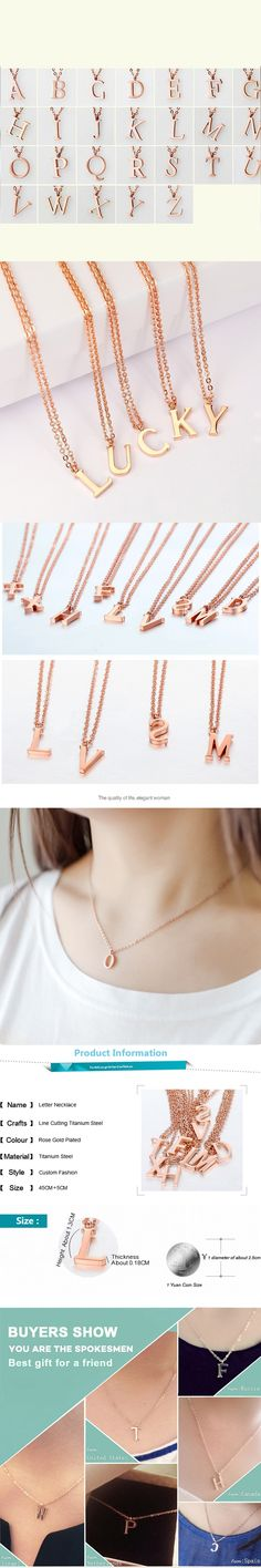 New Personalized Tiny Rose Gold Capital Letter Pendant Necklace Initial Name Charm Jewelry Custom Alphabet Mom And Children Gift
