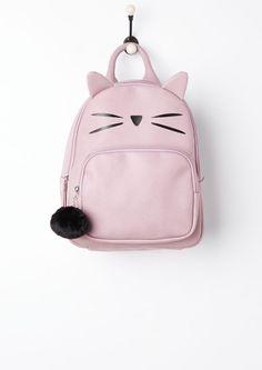 image of Kitty Ears Mini Backpack   Plush Pom Mini Backpack bd8752436579d