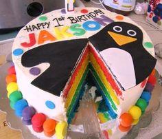 rainbow cake... for leo's 1st birthday