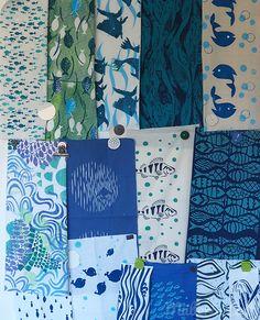 Müllerin Art: Meine Musterfische Handicraft, Screen Printing, Studio, Fabric, Design, Color, Paper, Screenprinting, Stamping Up