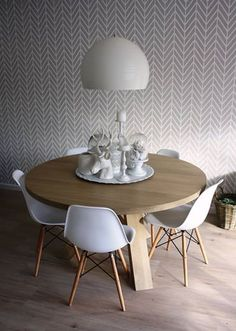 """All the way from the Netherlands!! Our """"Get Ziggy with It"""" stencil makes a lovely backdrop for a serene setting in the home of interior designer Jolande Verdult. Paired with white, it looks """"just right""""."""