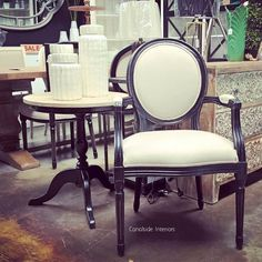 Sansa Carver Chair - Distressed Black with cream upholstery