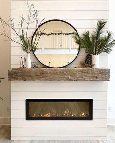 Shiplap Fireplace, Farmhouse Fireplace, Home Fireplace, Fireplace Remodel, Living Room With Fireplace, Fireplace Design, Fireplace Ideas, Fireplace With Mirror, Linear Fireplace
