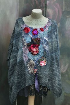 Winter roses tunic - bohemian romantic, floaty silk,  L -XL size,  altered couture, vintage textiles