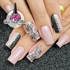 I love the designs on these nails, but not a fan of the shape Nails Only, Love Nails, Fun Nails, Elegant Nail Designs, Nail Art Designs, Fabulous Nails, Gorgeous Nails, Nailart, Airbrush Nails