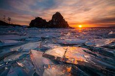 Льды Байкала. Фото, Байкал, лёд, закат, красота