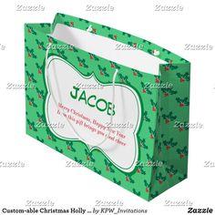 Custom-able Christmas Holly & Ivy Large Gift Bag