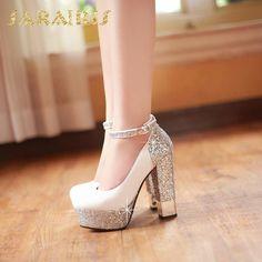 Apr 2020 - Bling Upper Pumps Women High Heels – Kutshy Ankle Strap High Heels, Lace Up Heels, Black High Heels, Bling Heels, Ankle Straps, Prom Heels, Wedding Heels, Frauen In High Heels, Studded Heels