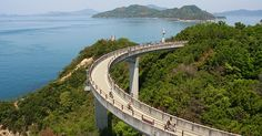 Between the islands of Honshu and Shikoku is a bikeway that island hops across the Seto Inland Sea. Cycling across it remains one of my favorite memories from Japan. Never been so tired in my life!