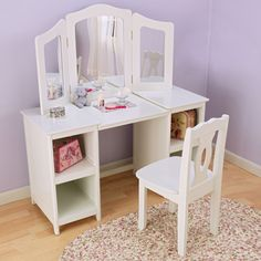 [Little Girl Vanity Set] Kids Vanity Table & Chair Set Little Girl Vanity, Girls Vanity, Kids Makeup Vanity, Girls Makeup, White Vanity, Vanity Set, Mirror Vanity, Mirror Shelves, White Mirror