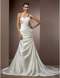 Trumpet/Mermaid Halter Chapel Train Satin Wedding Dress