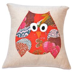 Applique kantha-print cotton pillow sham in red with an owl motif.  Product: ShamConstruction Material: Cotton