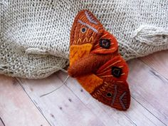 Embroidered Moth Brooch by SandhraLee on Etsy, $18.00