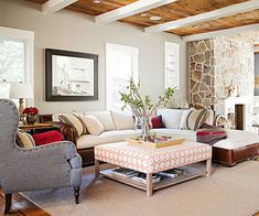 Fabulous Natural Color Scheme + orange patterned upholstered coffee table