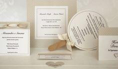Partecipazione invito menu e tag  Pois avorio e miele....Casa della Sposa Verona