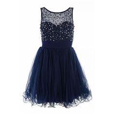 Navy chiffon pearl and diamante prom dress